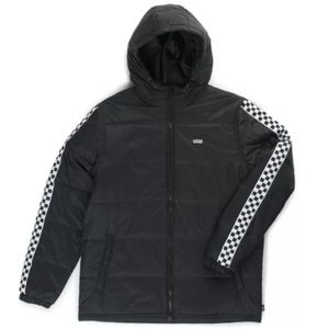 Vans Men's Black And White Checkered Puffer Jacket